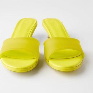 Zara Shoes - ZARA Yellow Rubber Kitten Heel Sandals EUR 39 US 8